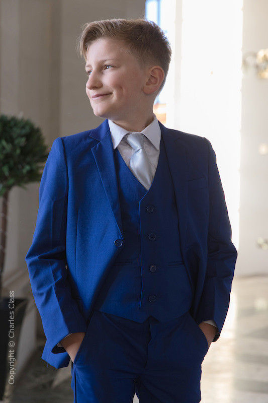 Boys Electric Blue Suit with Silver Tie - Barclay