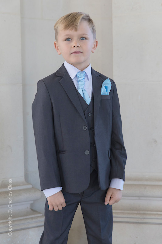 Boys Grey Jacket Suit with Sky Blue Cravat Set - Oscar