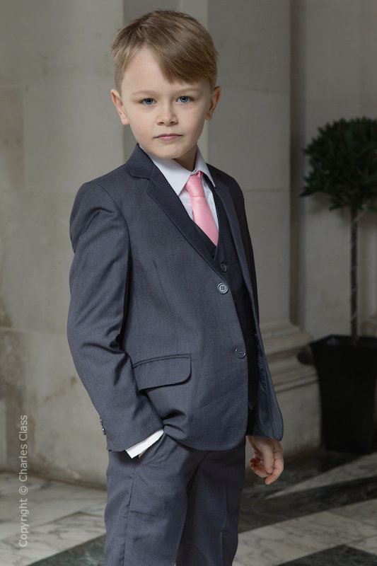 Boys Grey Jacket Suit with Baby Pink Tie - Oscar