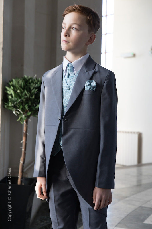 Boys Grey & Blue Scroll Tail Coat Suit - Melvin