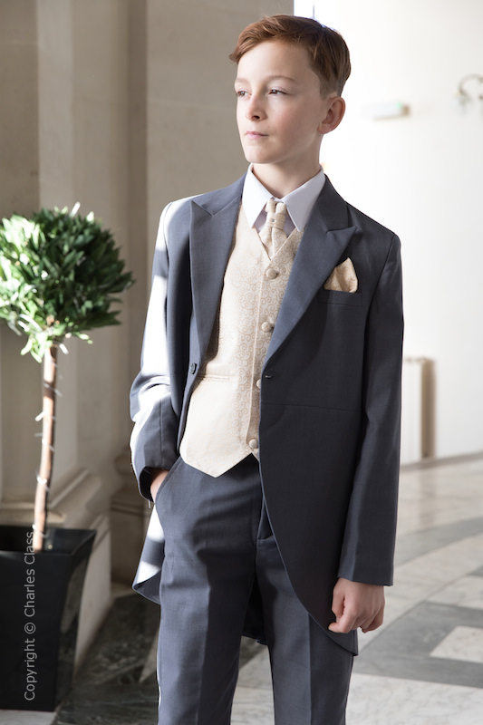 Boys Grey & Champagne Scroll Tail Coat Suit - Melvin