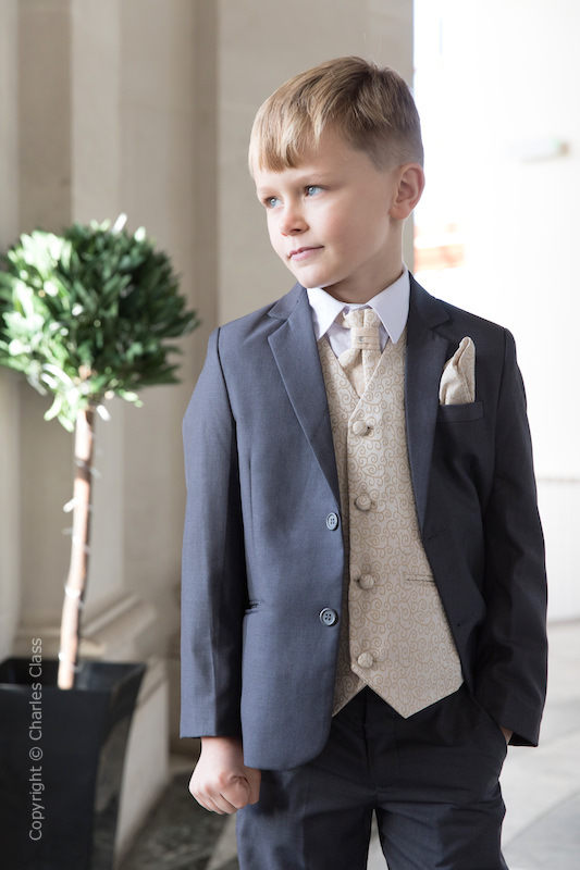 Boys Grey & Champagne Scroll Jacket Suit - Oliver