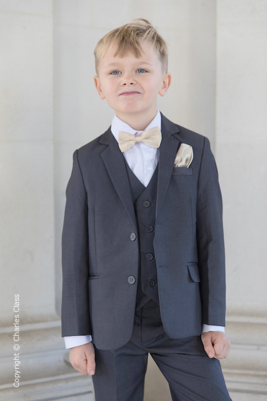 Boys Grey Jacket Suit with Champagne Bow & Hankie - Oscar