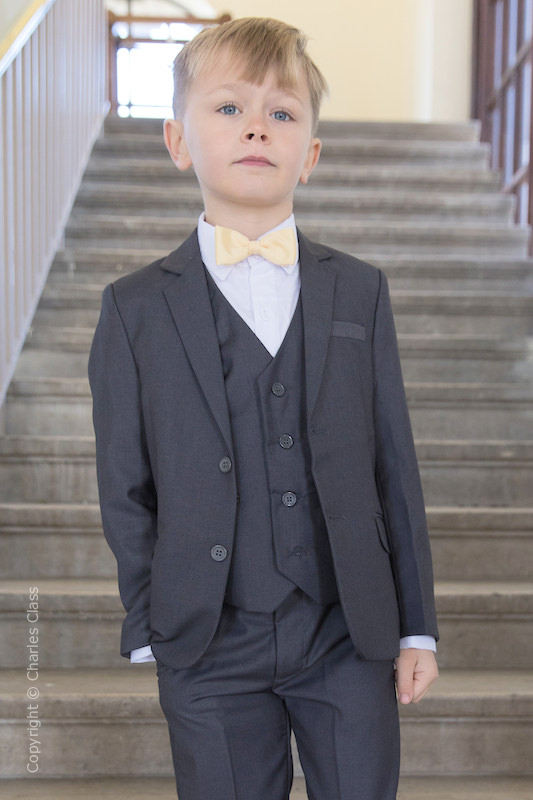 Boys Grey Jacket Suit with Gold Dickie Bow - Oscar