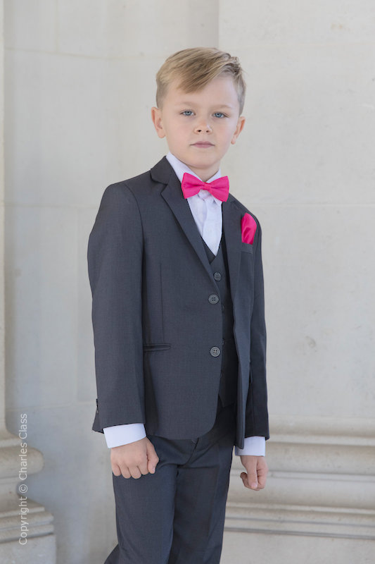 Boys Grey Jacket Suit with Hot Pink Bow & Hankie - Oscar
