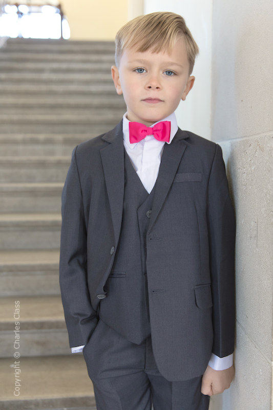 Boys Grey Jacket Suit with Hot Pink Dickie Bow - Oscar
