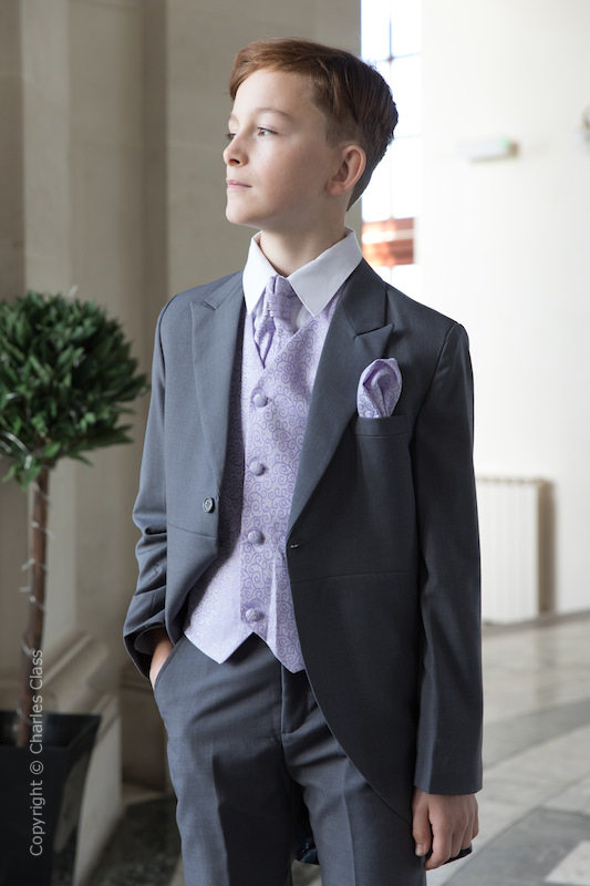 Boys Grey & Lilac Scroll Tail Coat Suit - Melvin
