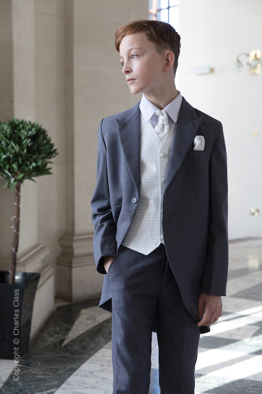 Boys Grey & Ivory Diamond Tail Coat Suit - Edwin