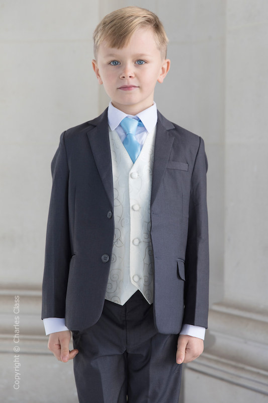 Boys Grey & Ivory Suit with Sky Blue Tie - Oliver