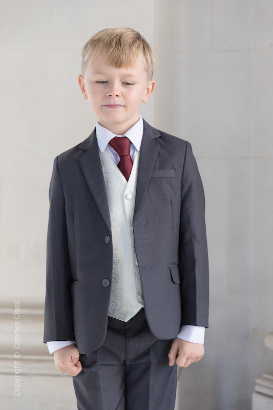 Boys Grey & Ivory Suit with Burgundy Tie - Oliver