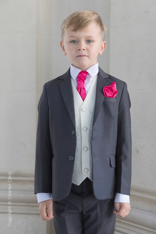 Boys Grey & Ivory Suit with Hot Pink Cravat Set - Oliver