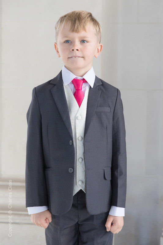 Boys Grey & Ivory Suit with Hot Pink Tie - Oliver