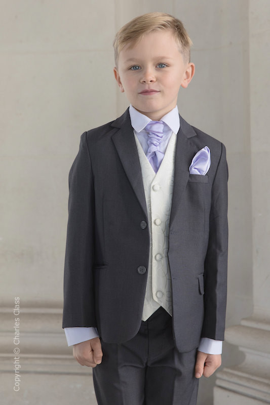 Boys Grey & Ivory Suit with Lilac Cravat Set - Oliver