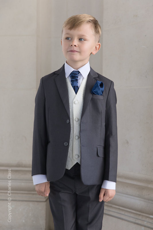 Boys Grey & Ivory Suit with Navy Cravat Set - Oliver