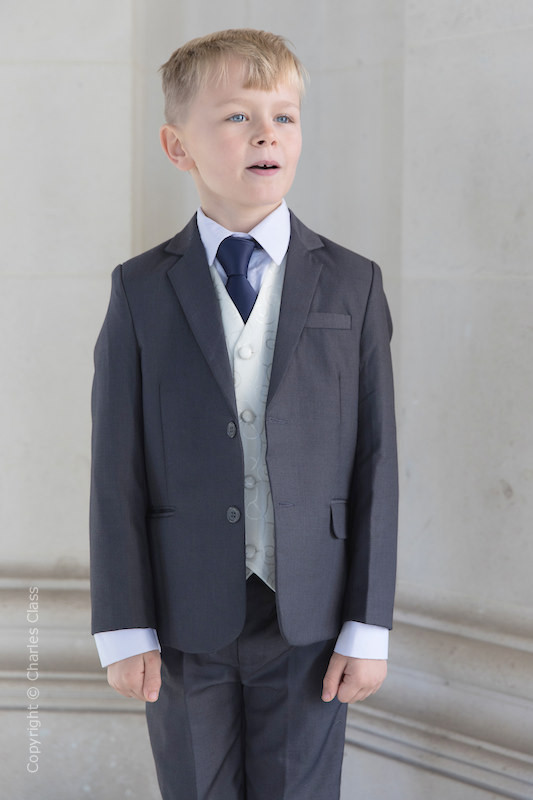 Boys Grey & Ivory Suit with Navy Tie - Oliver