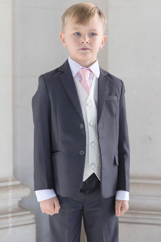 Boys Grey & Ivory Suit with Pale Pink Tie - Oliver