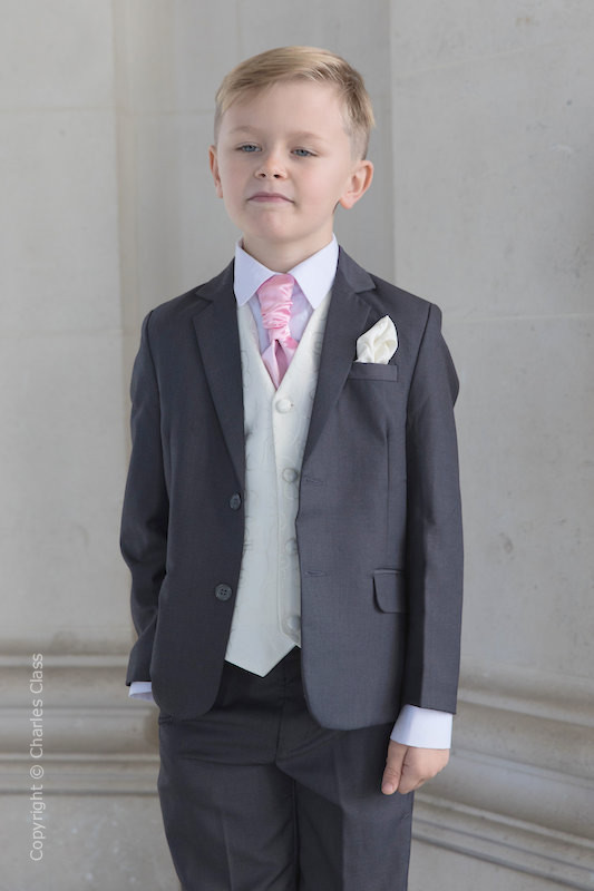 Boys Grey & Ivory Suit with Baby Pink Cravat - Oliver
