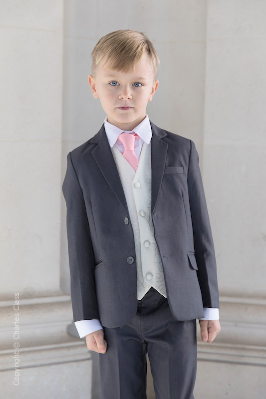 Boys Grey & Ivory Suit with Baby Pink Tie - Oliver