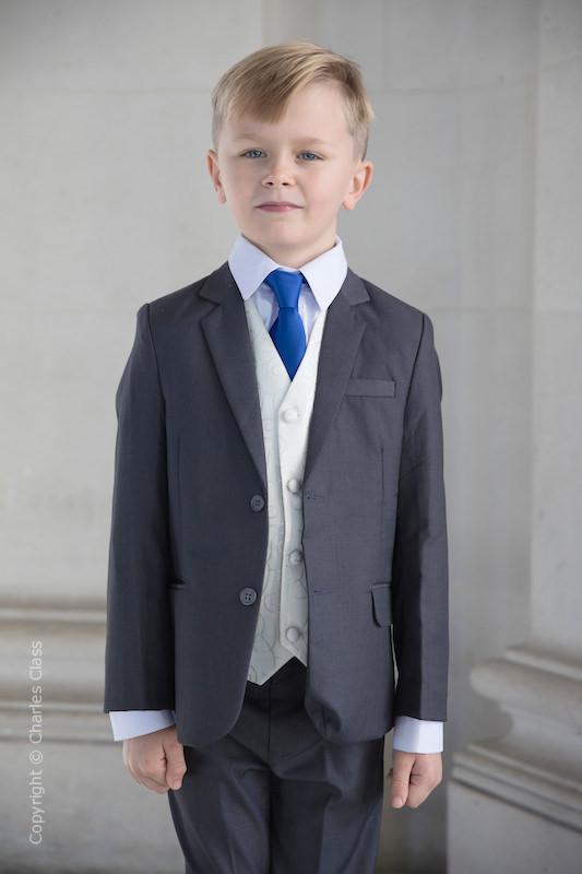 Boys Grey & Ivory Suit with Royal Blue Tie - Oliver