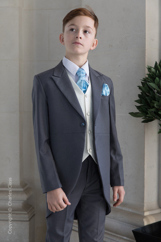 Boys Grey & Ivory Tail Suit with Sky Blue Cravat Set - Melvin