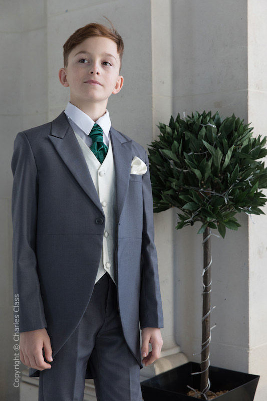 Boys Grey & Ivory Tail Suit with Bottle Green Cravat - Melvin