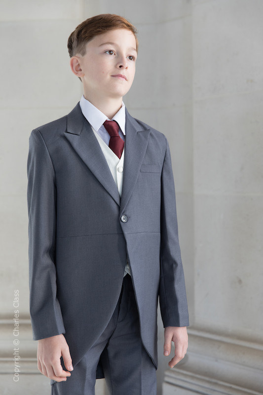 Boys Grey & Ivory Tail Suit with Burgundy Tie - Melvin
