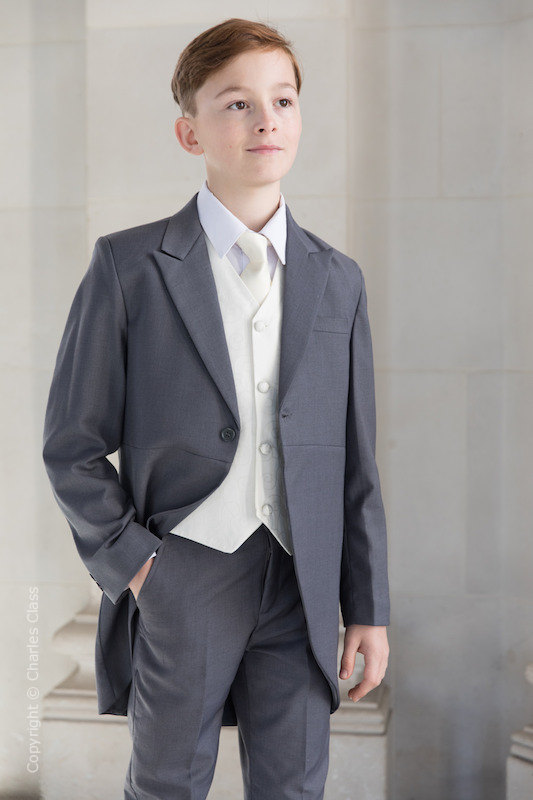 Boys Grey & Ivory Tail Suit with Ivory Tie - Melvin