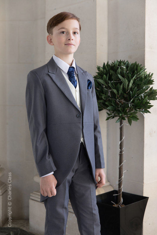 Boys Grey & Ivory Tail Suit with Navy Cravat Set - Melvin