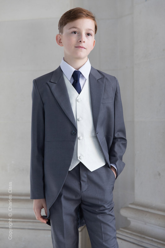 Boys Grey & Ivory Tail Suit with Navy Tie - Melvin