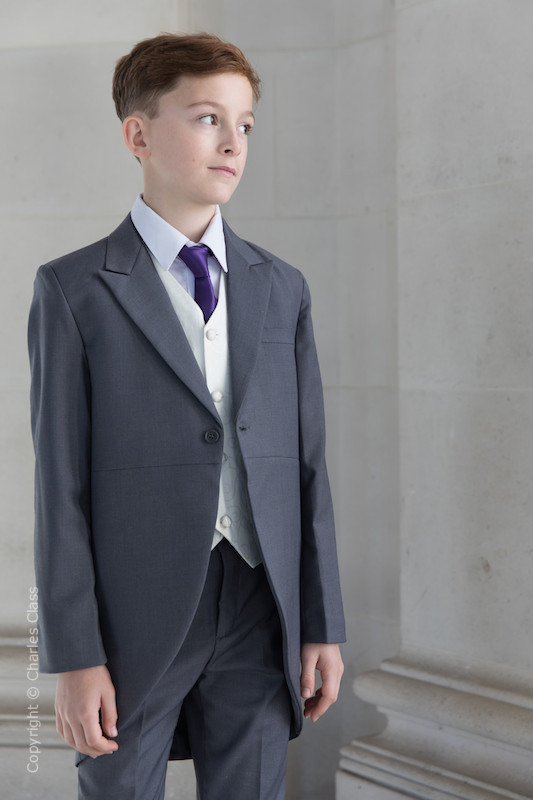 Boys Grey & Ivory Tail Suit with Purple Tie - Melvin