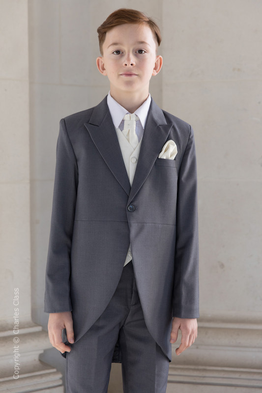 Boys Grey & Ivory Scroll Tail Coat Suit - Melvin