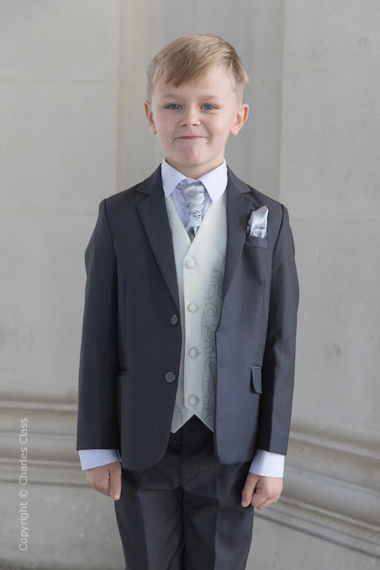 Boys Grey & Ivory Suit with Silver Cravat Set - Oliver