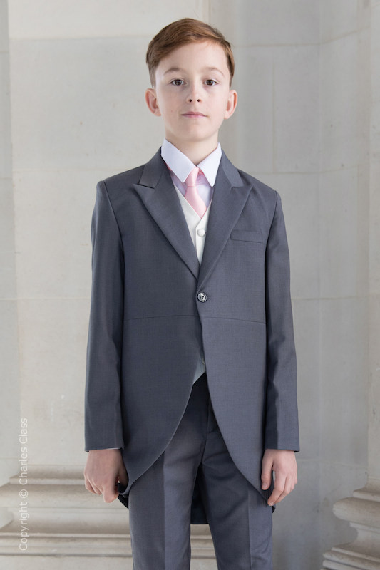 Boys Grey & Ivory Tail Suit with Pale Pink Tie - Melvin