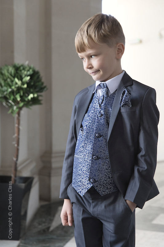 Boys Grey & Navy Scroll Jacket Suit - Oliver