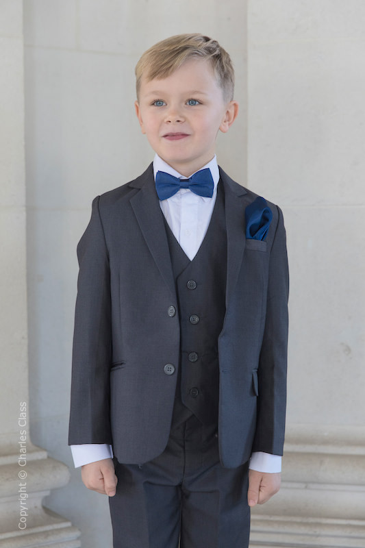 Boys Grey Jacket Suit with Navy Bow & Hankie - Oscar
