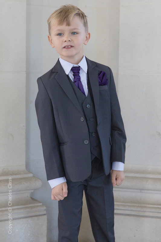 Boys Grey Jacket Suit with Purple Cravat Set - Oscar