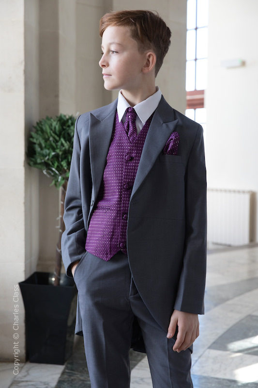 Boys Grey & Purple Diamond Tail Coat Suit - Edwin