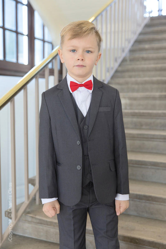 Boys Grey Jacket Suit with Red Dickie Bow - Oscar