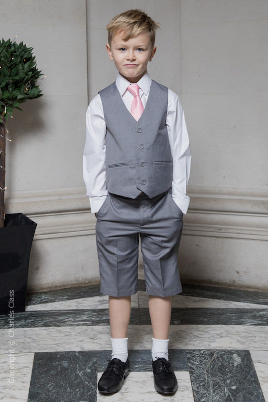 Boys Light Grey Shorts Suit with Baby Pink Tie - Harry