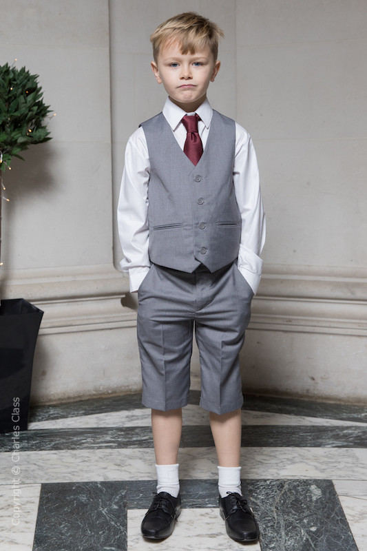 Boys Light Grey Shorts Suit with Burgundy Tie - Harry