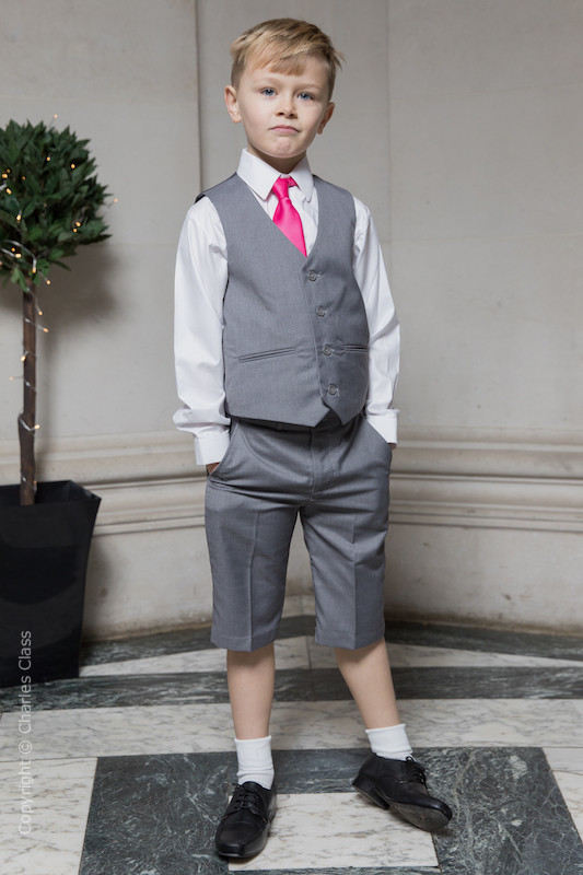 Boys Light Grey Shorts Suit with Hot Pink Tie - Harry