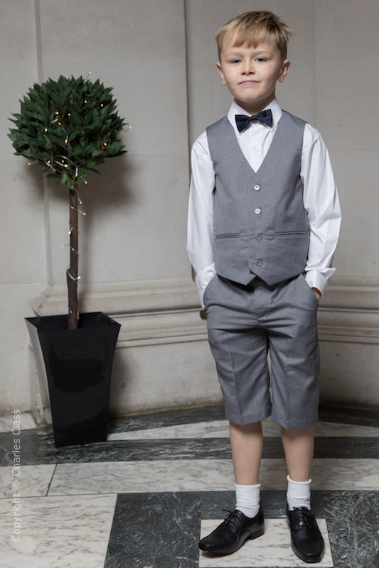 Boys Light Grey Shorts Suit with Navy Dickie Bow - Harry