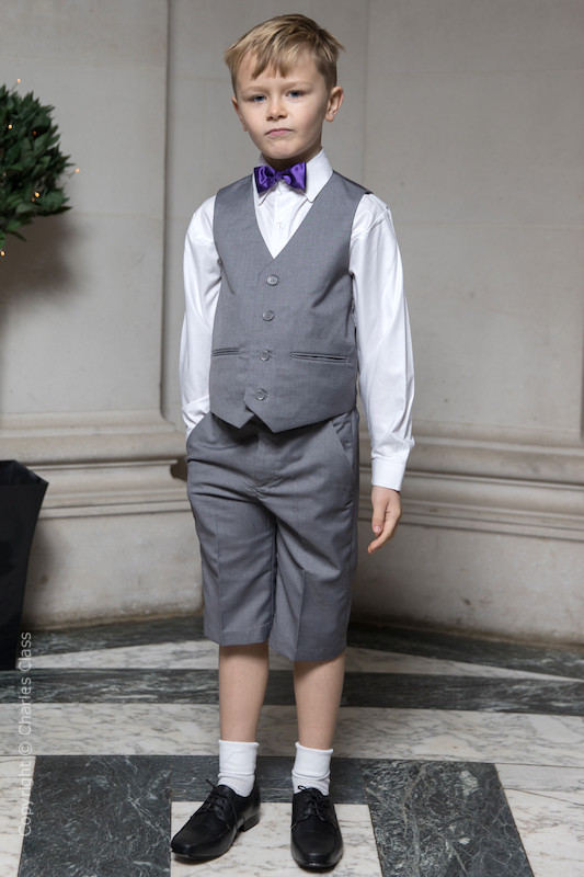 Boys Light Grey Shorts Suit with Purple Dickie Bow - Harry