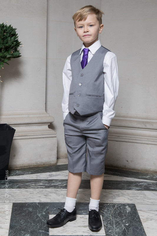 Boys Light Grey Shorts Suit with Purple Tie - Harry