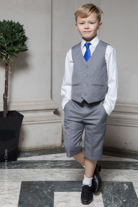 Boys Light Grey Shorts Suit with Royal Blue Tie - Harry