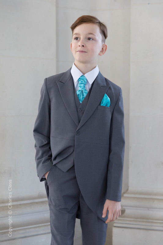 Boys Grey Tail Coat Suit with Turquoise Cravat Set - Earl