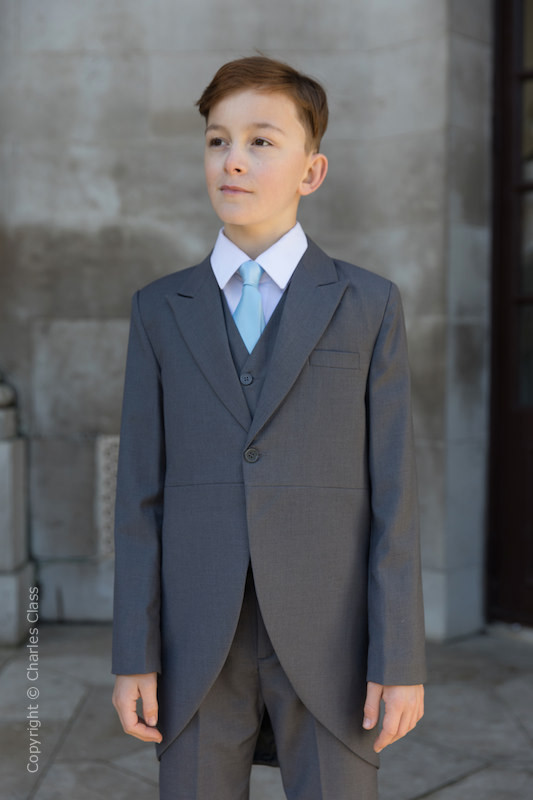 Boys Grey Tail Coat Suit with Sky Blue Tie - Earl