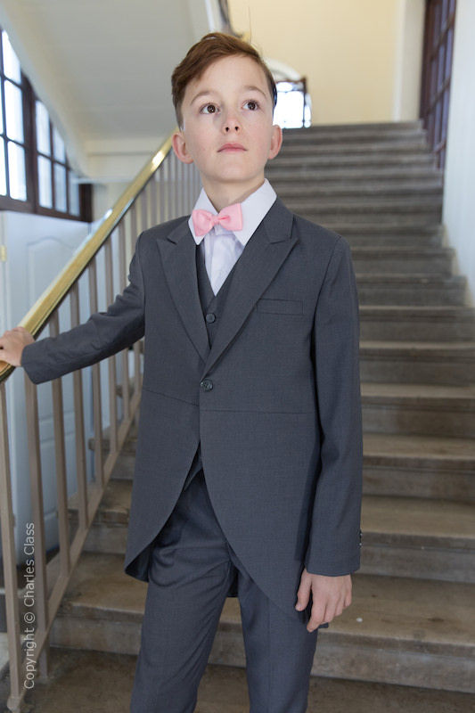 Boys Grey Tail Coat Suit with Baby Pink Bow Tie - Earl