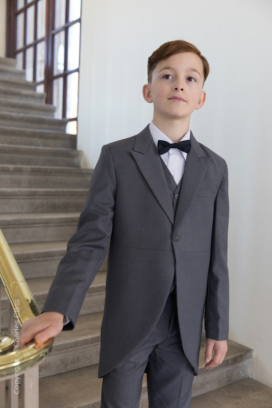 Boys Grey Tail Coat Suit with Black Bow Tie - Earl