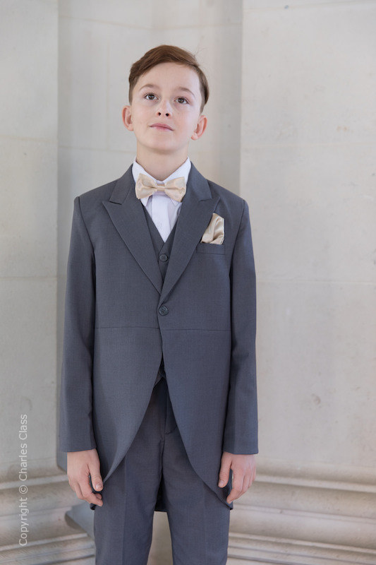 Boys Grey Tail Coat Suit with Champagne Dickie Bow Set - Earl
